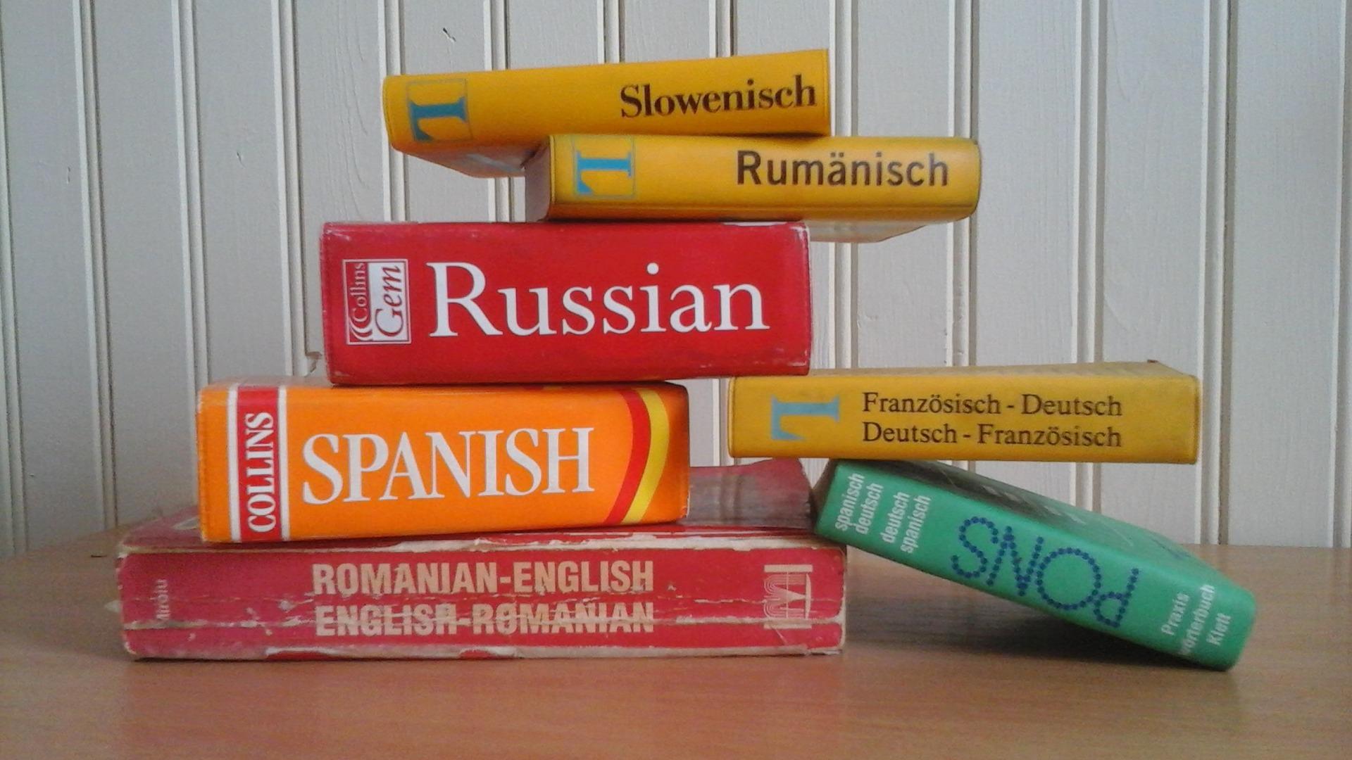 Kuvassa on eri kielten sanakirjoja. Kuva: Pixabay